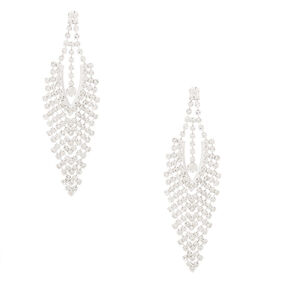 "Silver Rhinestone 3"" Chevron Chandelier Drop Earrings,"