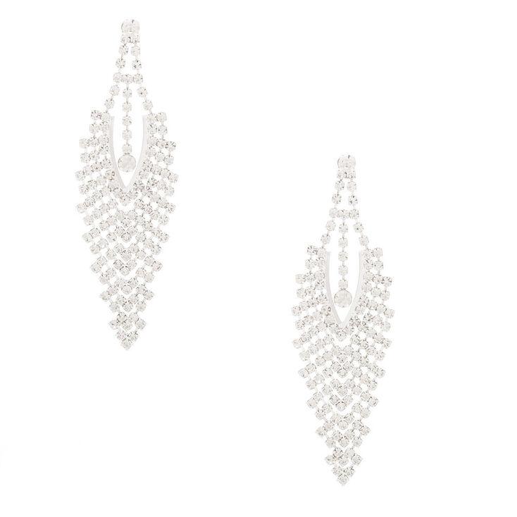 """Silver Rhinestone 3"""" Chevron Chandelier Drop Earrings,"""