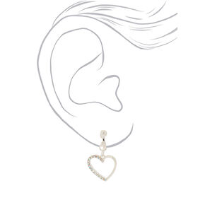 "Silver 1"" Heart Clip On Drop Earrings,"