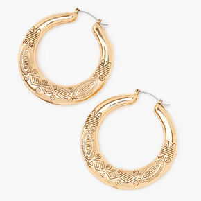Gold 60MM Boho Print Hoop Earrings,