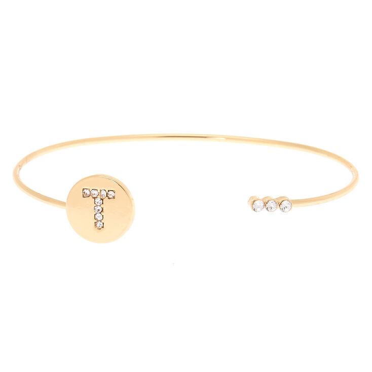 Gold Initial Cuff Bracelet - T,