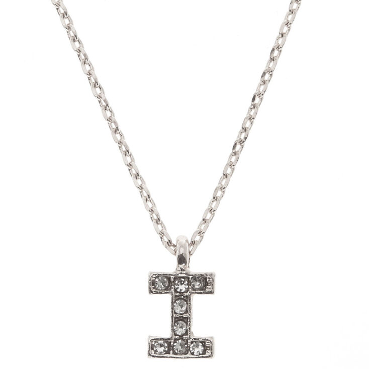 """Silver Studded """"I"""" Initial Necklace,"""