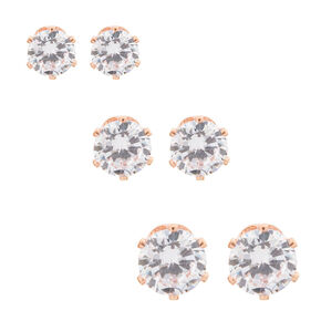Rose Gold Cubic Zirconia Round Stud Earrings - 5MM, 6MM, 7MM,
