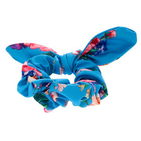 Rose Print Bow Hair Scrunchie - Blue,