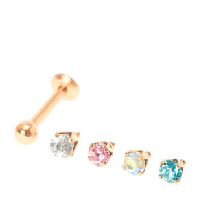 16G Rose Gold Tragus Stud with Interchangeable Colored Crystals,