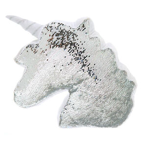Reversible Sequin Unicorn Pillow - White,