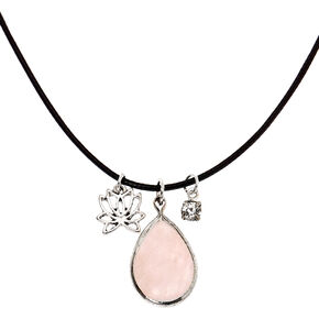 Rose Quartz Teardrop Pendant Necklace,