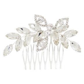 Silver-Tone Glass Stone Leaf Hair Comb,