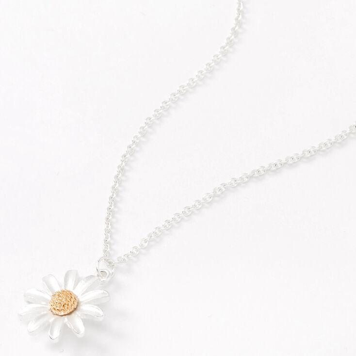 Silver Dainty Daisy Pendant Necklace,