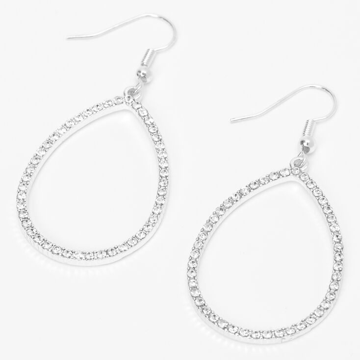 "Silver 2"" Open Teardrop Crystal Drop Earrings,"