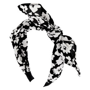 Black & White Floral Knotted Bow Headband,
