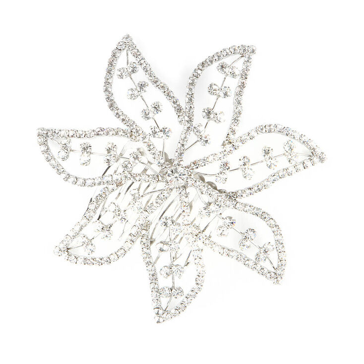Large Rhinestone Poinsettia Hair Comb,