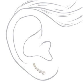 "Silver .5"" Graduated Pearl Ear Crawler Earrings,"