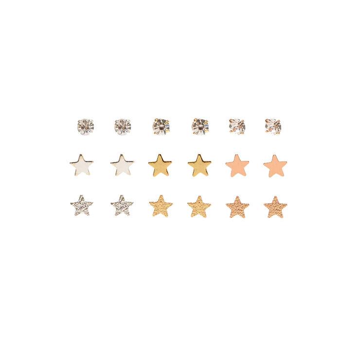 9 Pack Mixed Metal Stars & Clear Faux Crystal Stud Earrings,