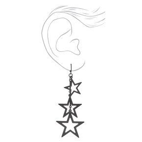 """Black 3"""" Triple Star Drop Earrings,"""