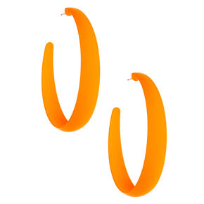 60MM Rubber Hoop Earrings - Neon Orange,