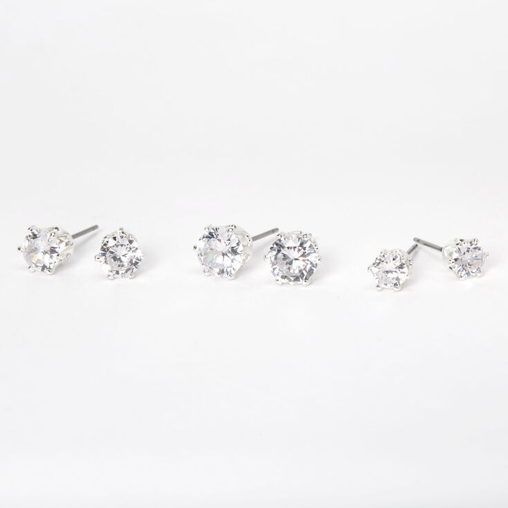 Silver Cubic Zirconia Round Stud Earrings - 5MM, 6MM, 7MM,