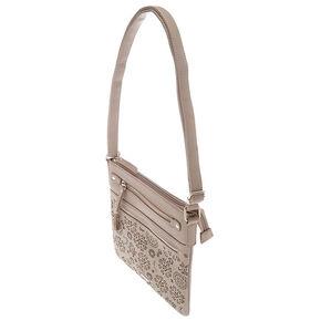 Filigree Cut Perforated Midi Crossbody Bag - Gray,