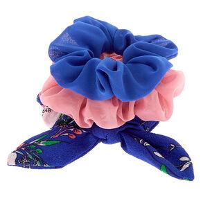 Floral Shine Hair Scrunchies - Navy, 3 Pack,