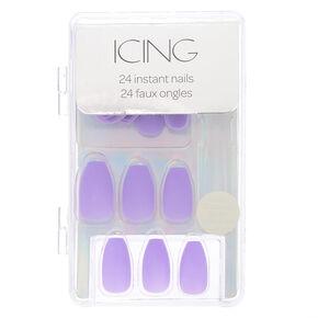 Bright Purple Matte Faux Nail Set,