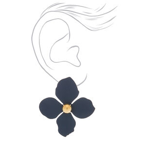 "2"" Flower Stud Earrings - Navy,"