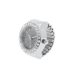 Silver Glitter Ring Watch,