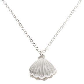 Silver Pearl Clamshell Pendant Necklace,