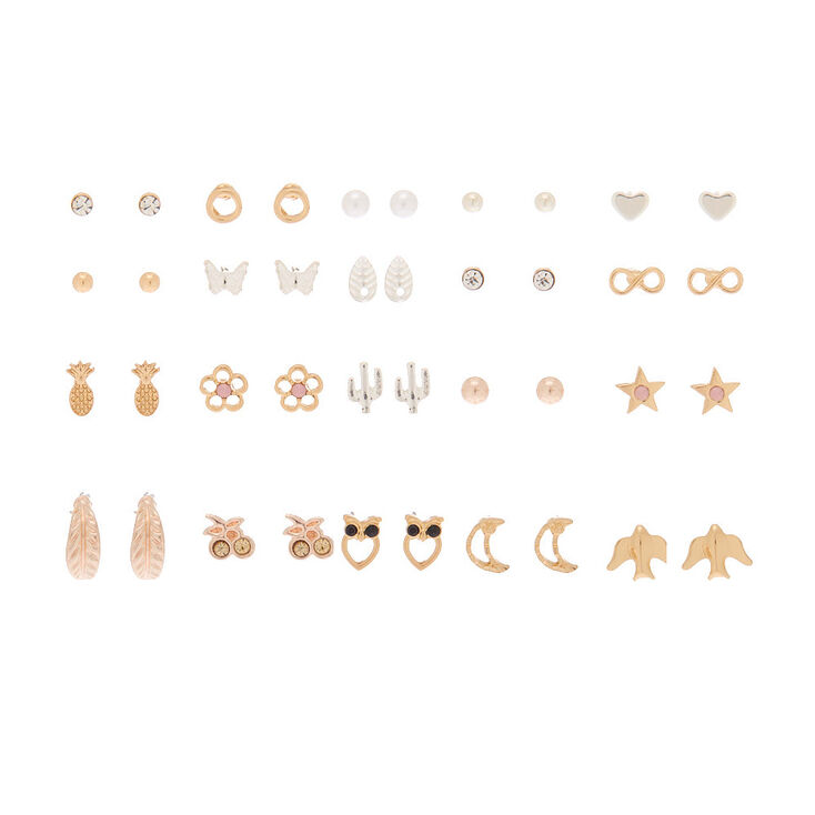 Mixed Metal Favorite Charm Stud Earrings - 20 Pack,