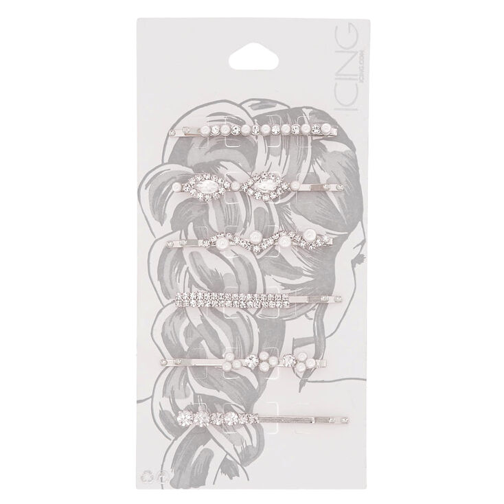 Silver-Tone Faux Pearl & Crystal Bobby Pins,