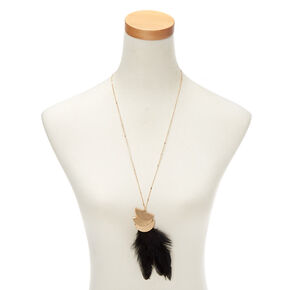 Gold Feather Long Pendant Necklace - Black,
