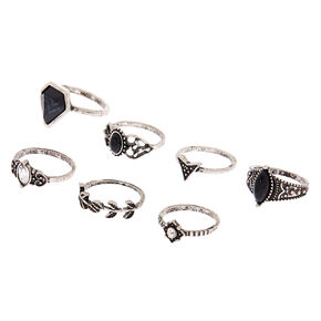 Silver Gothic Glam Rings - Black, 7 Pack,
