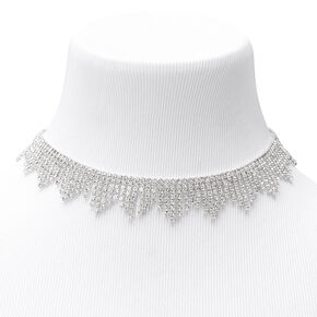 Silver Rhinestone Collar Fringe Statement Necklace,
