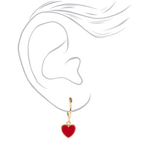 Gold 10MM Heart Charm Hoop Earrings,