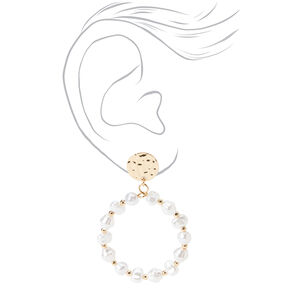 """Gold 3"""" Hammered Disc Pearl Drop Earrings,"""