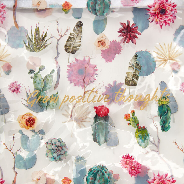 Grow Positive Thoughts Floral Succulent Pencil Case - Clear,