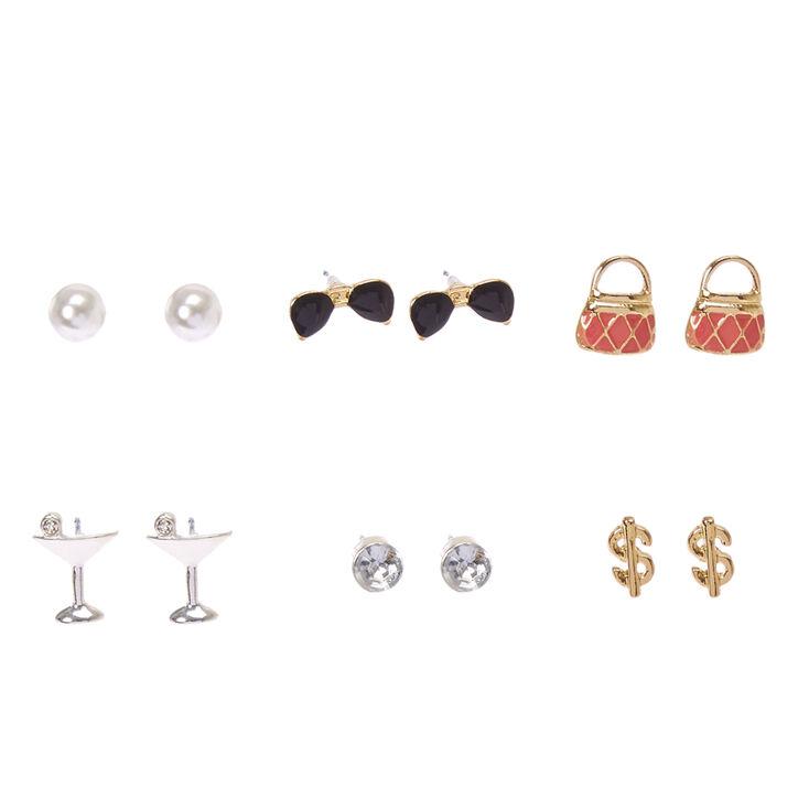 Fashionista Motif Stud Earrings,