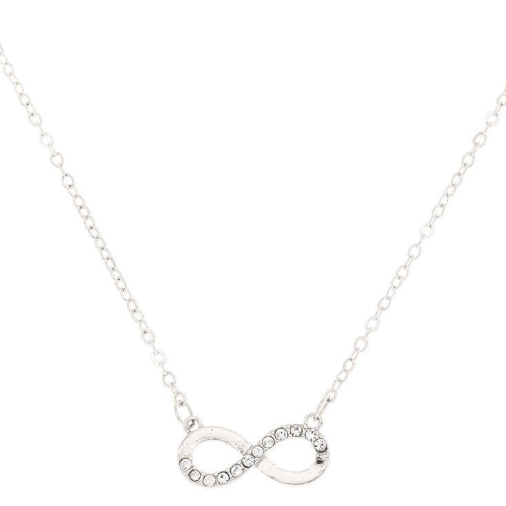 Silver Embellished Infinity Pendant Necklace,