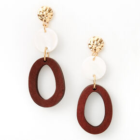 """Gold 3"""" Hammered Wooden Drop Earrings - Brown,"""