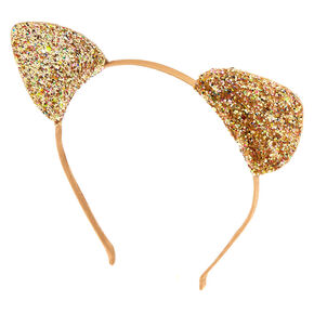Iridescent Glitter Cat Ears Headband - Gold,