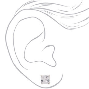 Silver Cubic Zirconia 8MM Square Stud Earrings,