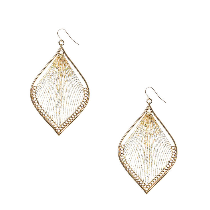 Gold Tone Metallic Dreamcatcher Drop Earrings,