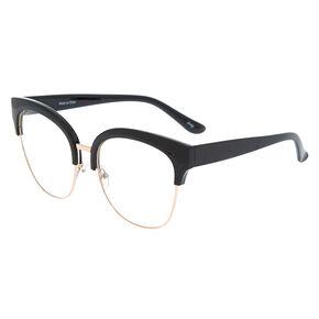 Oversized Browline Clear Lens Frames - Black,