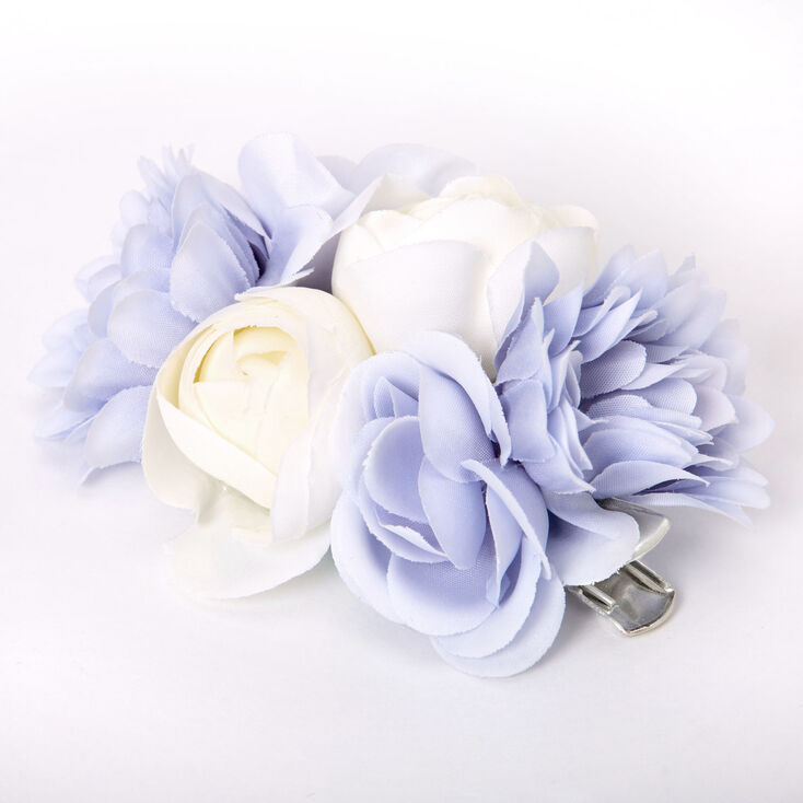 1940s Hair Snoods- Buy, Knit, Crochet or Sew a Snood Icing Bouquet Of Flowers Hair Clip - Blue $7.99 AT vintagedancer.com
