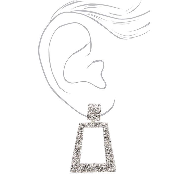 """Silver 2"""" Rhinestone Door Knocker Drop Earrings,"""