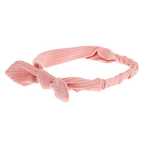 Ribbed Knotted Bow Headwrap - Pink,