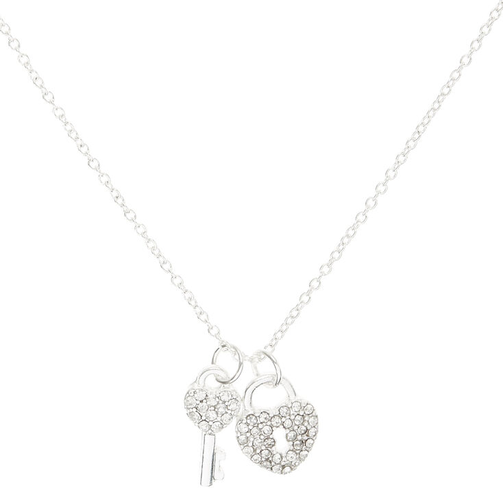 Silver Crystal Heart Lock & Key,