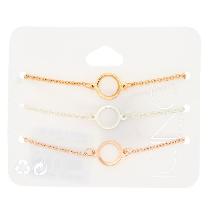 Mixed Metal Circle Chain Bracelets - 3 Pack,