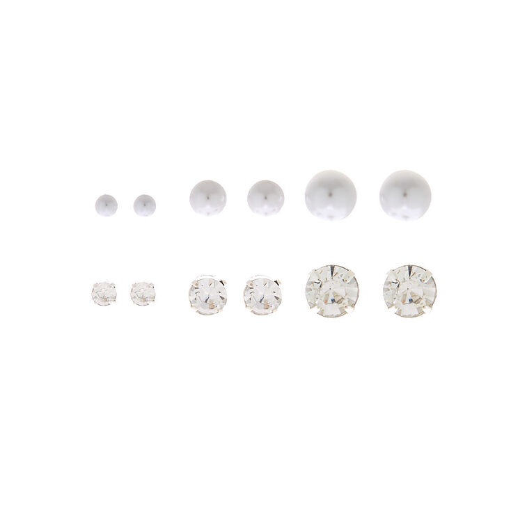 Silver Round Pearl Crystal Stud Earrings - 6 Pack,