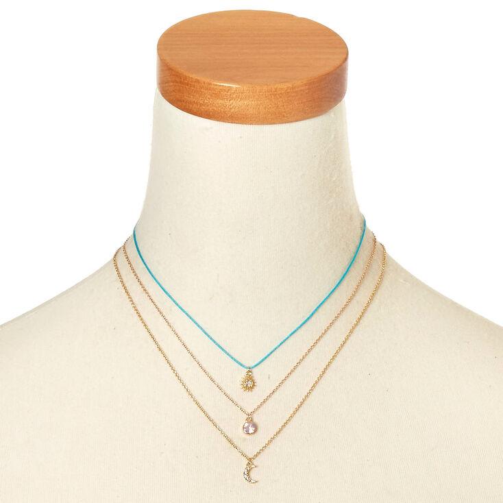 3 Pack Sun, Moon, & Opal Pendant Necklaces,