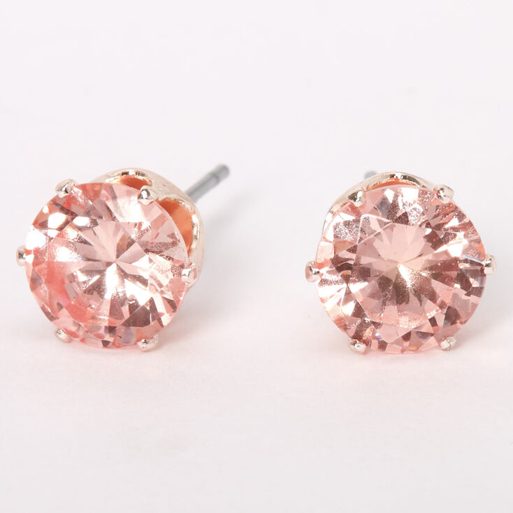 Rose Gold Cubic Zirconia Silk Stone Round Stud Earrings - 8MM,